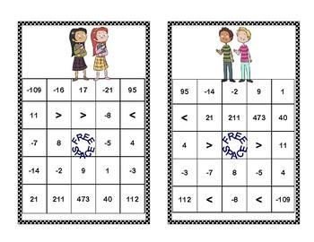 Middle School Integer Bingo-Kids