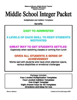 Middle School Integer Practice:  3 Minute Drills