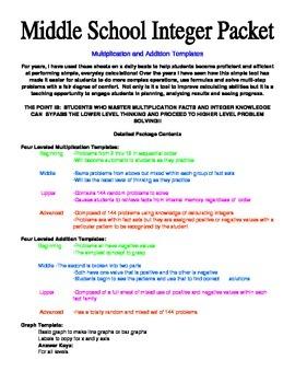 Middle School Integer Practice:  3 Minute Drills