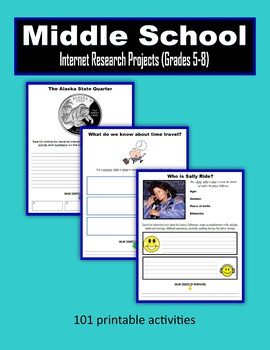 Middle School Internet Research Projects (Grades 5-8)