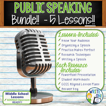 PUBLIC SPEAKING, DEBATE, and SPEECH BUNDLE!! - 5 LESSONS!!! - Middle School
