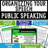 PUBLIC SPEAKING, DEBATE, AND SPEECH - ORGANIZING A SPEECH - Middle School
