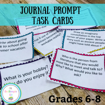 Middle School Journal Prompt Task Cards