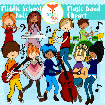 Middle School Kids Music Band Clipart Personal and Commercial