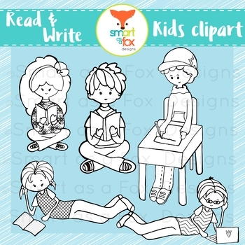 Middle School Kids Read Write Clipart Personal and Commercial Use