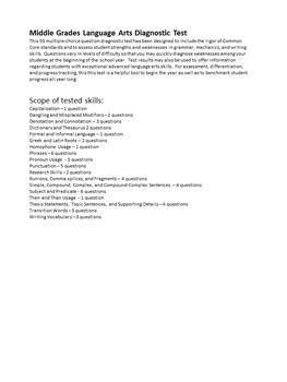 Language Arts Common Core Diagnostic Benchmark Pretest Grammar and Writing