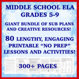 "Middle School ELA ""NO PREP"": 70 Emergency Sub Plans & Resources MEGA BUNDLE!"