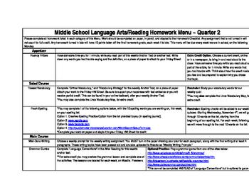 Middle School Language Arts Weekly Homework Menu Assignment Description
