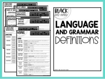 Middle School Language and Grammar Terms Reference Sheets {6th, 7th, 8th CCSS}