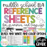 Middle School Language and Grammar Terms Reference Sheets   6th 7th 8th   CCSS