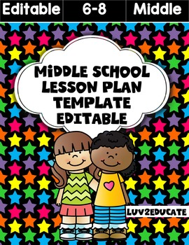 Middle School Lesson Plan Fully Editable