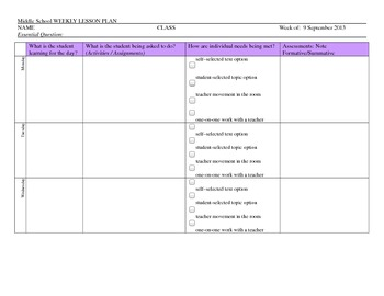 Middle School Lesson Plan Template with Differentiation Checkboxes