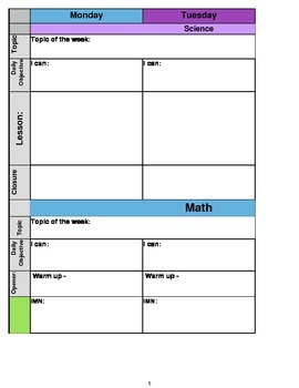 Middle School Lesson Planner