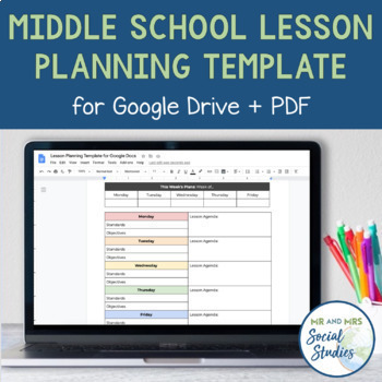Middle School Lesson Planning Template for Google Drive and PDF