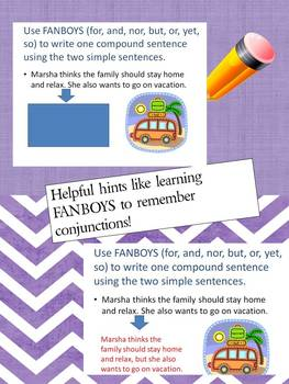 Middle School Language Lesson Recognizing and Writing Compound Sentences