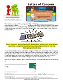 Middle School ELA Letter of Concern-Missing Assignments or Grades