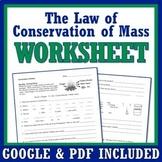 Law of Conservation of Matter Worksheet