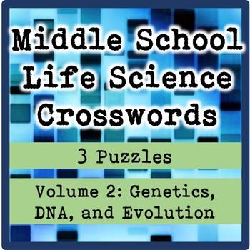 Middle School Life Science (Biology) Crosswords Volume 2: Genetics and Evolution