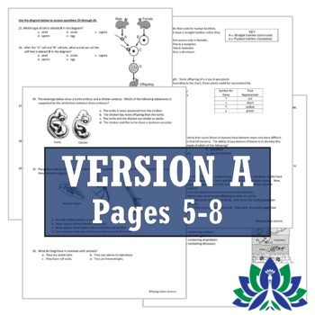 Middle School NGSS Life Science Biology FINAL EXAM ASSESSMENT  *2 Versions*