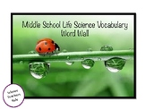 Middle School Life Science Vocabulary Word Wall Cards
