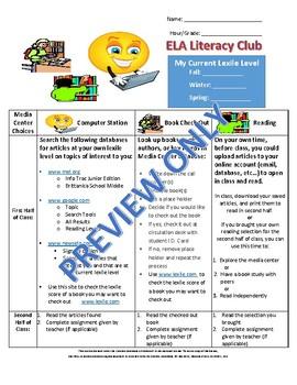 Middle School ELA Literacy Club Choices