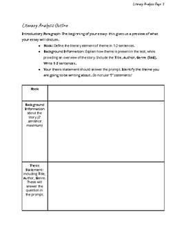 Middle School Literary Analysis Teacher Guide and Student Writing Guide***