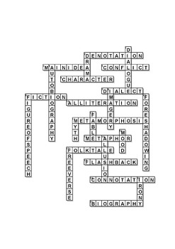 Middle School Literary Terms Crossword Puzzles
