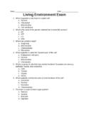 Middle School Living Environment Exam