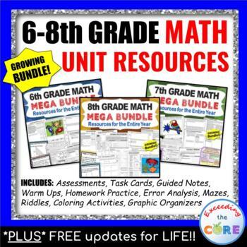 Middle School MATH GROWING BUNDLE {Common Core}