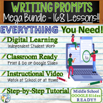 WRITING PROMPTS MEGA BUNDLE - 70 Lessons!!!! - Middle School