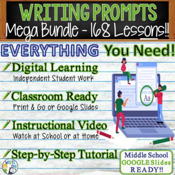 WRITING PROMPTS MEGA BUNDLE - 70 Lessons!!!! - Middle School
