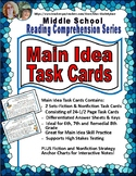 Middle School Main Idea and Supporting Detail Task Cards