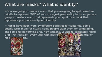 Middle School Mask and Identity Clay Crete Project PowerPoint Middle School