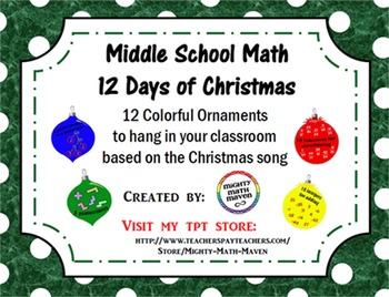 Middle School Math 12 Days of Christmas