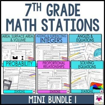 7th Grade Math Stations Middle School Math Mini Bundle