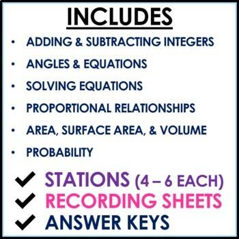 7th Grade Math Stations Middle School Math Mini Bundle