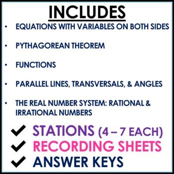 8th Grade Math Stations Middle School Math Mini Bundle