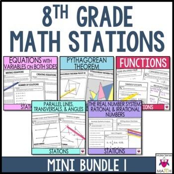 Math Stations Middle School Math 8 Mini Bundle