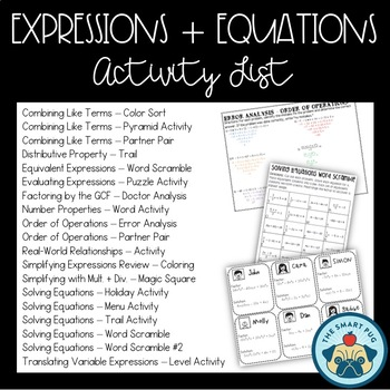 Middle School Math Activities Bundle - Number System, Expressions and Equations