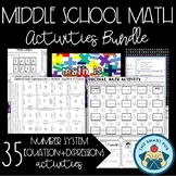 Middle School Math Activities Bundle - Number System, Expr