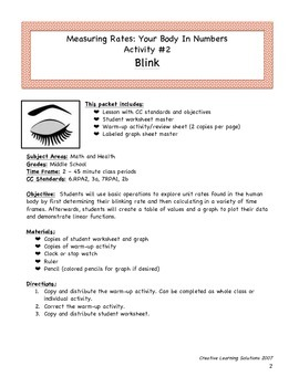 Middle School Math Activity #3 for Unit Rates & Ratios:Blink!