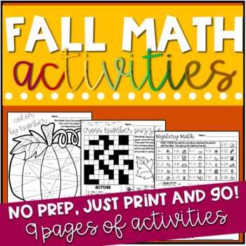 Fall Middle School Math Activity