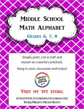 Middle School Math Alphabet
