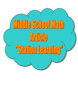 Common Core Middle School Math Article - Station Learning