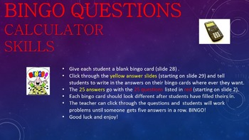 Middle School Math BINGO! (with or without a calculator)