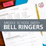 Bell Ringers for Middle School Math COMPLETE SET (Bellwork / review exercises)