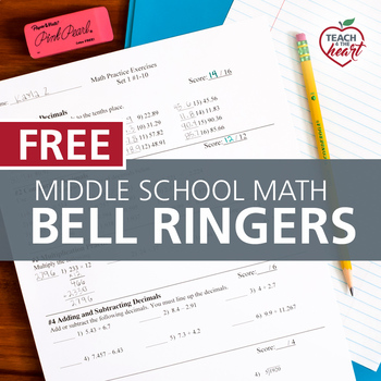 Bell Ringers for Middle School Math Single Set (Review Practice)
