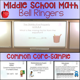 Middle School Math Bell Ringers- One Week Sample with Answer Key