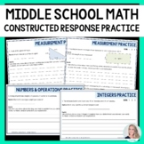 Middle School Math Constructed Response Practice