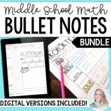 Middle School Math Bullet Notes Bundle
